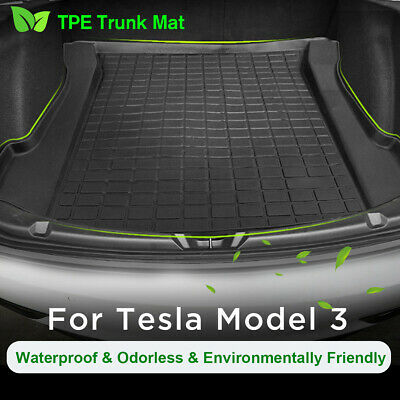 Trunk TPE Rear Floor Mat Cargo Liner Rear Cargo Tray Black for Tesla Model 3