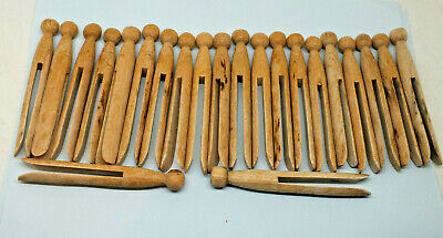 22 x Vintage Wooden Dolly Pegs old clothes pegs line washing garden Crafts