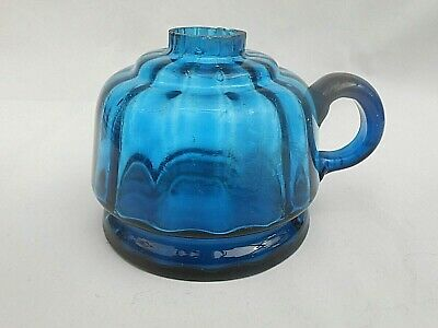 Small Antique ** BLUE ** Glass Hand Held Oil Lamp