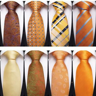 Orange Yellow Silk Tie Paisley Checks Striped Mens Necktie Hanky Cufflinks Party