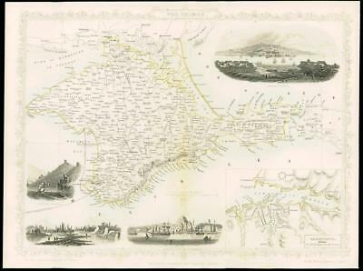 """1850 - Illustrated Original Antique Map of """"THE CRIMEA"""" Turkey  by Tallis (76d)"""