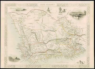"1850 - Original Illustrated Antique Map of ""CAPE COLONY"" Africa by Tallis (65dw)"