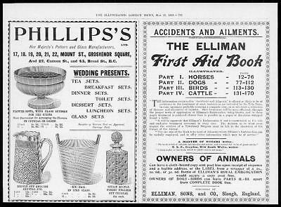 1899 Antique Print - ADVERTISING Ellimans First Aid Book Phillips Potters  (99)