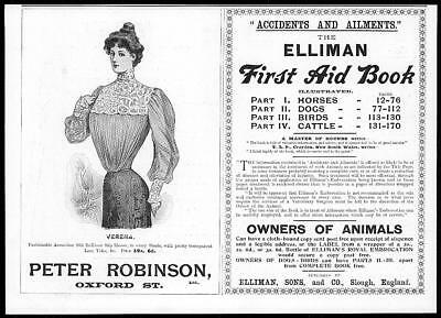 1899 Antique Print - ADVERTISING Elliman First Aid Book Peter Robinson (16)