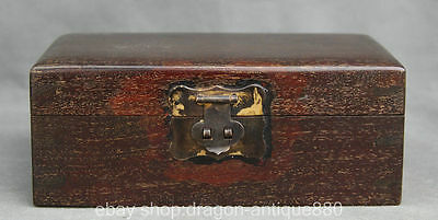 """8"""" Old Chinese red sandalwood Wood Palace nobility Jewel Jewellery Box Collect"""
