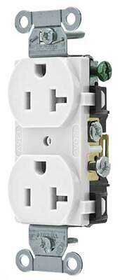 HUBBELL WIRING DEVICE-KELLEMS CR20WHI Straight Blade Receptacle, Duplex,