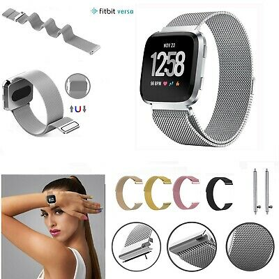 For Fitbit Versa Strap Replacement Milanese Wrist Band Stainless Steel Magnetic