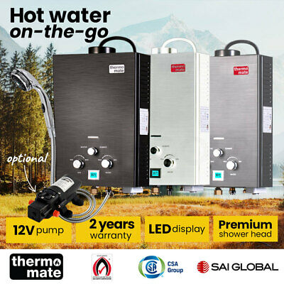 Thermomate Outdoor Water Heater Gas Camping Portable Tankless Shower Hot Pump