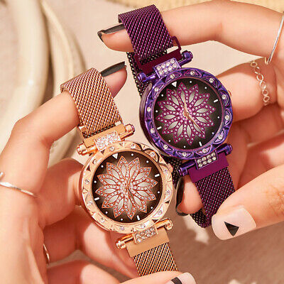 Luxury Starry Sky Watch Magnet Strap Free Buckle Stainless Steel Lady Women Gift