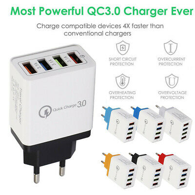 4 Port QC 3.0 Fast Quick Charge USB Hub Wall Charger Power Adapter EU Plug UK