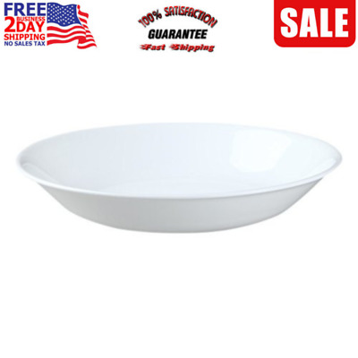Corelle Living ware Pasta Bowls Dishwasher Glass Winter Frost White Set of 6 New