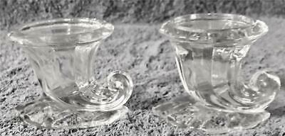 """Pair Lovely Heisey Clear Cornucopia Candleholders Candle Holders - 2 1/4"""" T"""