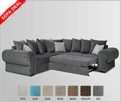 LARGE FABRIC CORNER Sofa Bed with Storage - Silver | Grey | Brown | Cream