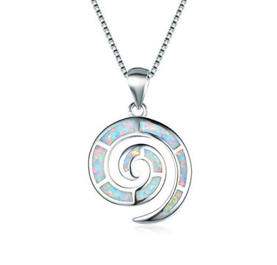Fashion Woman 925 Silver Mermaid White Fire Opal Charm Pendant Necklace Chain //