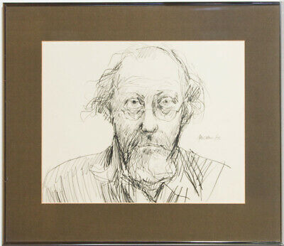 Peter Collins ARCA - Signed and Framed 1975 Graphite Drawing, Self Portrait