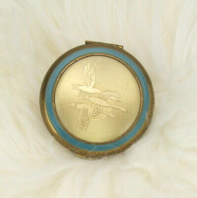 Vintage Geese Brass Turquoise Enamel Powder Compact with Mirror Women's Cosmetic