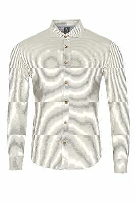 Eleventy Shirt Men's M Cream  Cotton  Slim Fit Striped