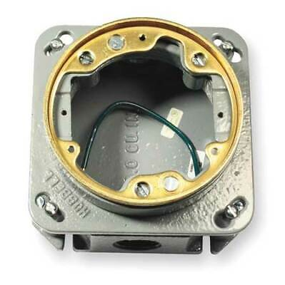 HUBBELL WIRING DEVICE-KELLEMS B2537 Floor Box,Cast Iron,Round,33.0 cu. in.