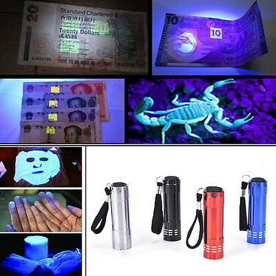 Mini UV Ultra Violet 9 LED Flashlight Blacklight Light Inspection Lamp Torch F7