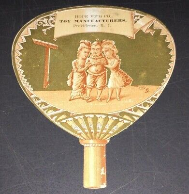 1880's HOPE TOY MANUFACTURERS, R.I., VICTORIAN TRADE CARD - DIE CUT TOY FAN!