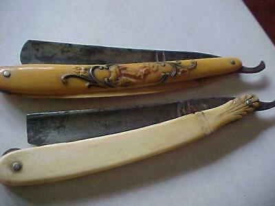 2 Antique Straight RAZOR Pritzlaff Celluloid Stag + Fremont Carved Ivory Blade