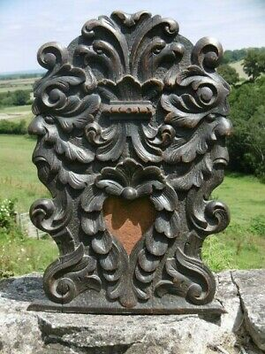 SUPERB 19thc GOTHIC OAK CARVING WITH GRIFFINS & GREEN MAN HEADS