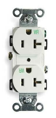 HUBBELL WIRING DEVICE-KELLEMS BR20WHIWR 20A Duplex Receptacle 125VAC 5-20R WH