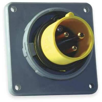 HUBBELL WIRING DEVICE-KELLEMS HBL320B4W IEC Pin and Sleeve Inlet,20A,125V,Yellow