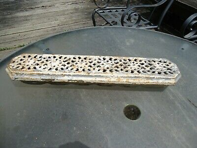 "Antique Cast Iron Heat Radiator Cover Grate Silver White Plant Box 22"" X 5"""