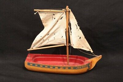 "Vintage Antique Sea Horse Painted Wooden Toy Kid's Sail Boat 12"" x 11"" x 4"""