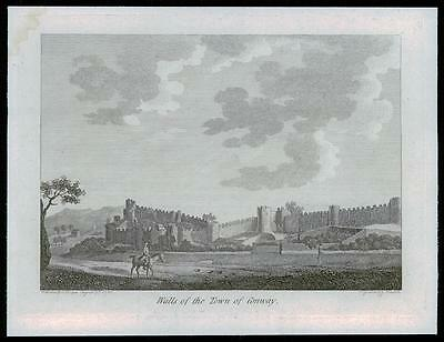 1783 Original Antique Print - WALLS OF THE TOWN OF CONWAY Conwy Wales (Q143)