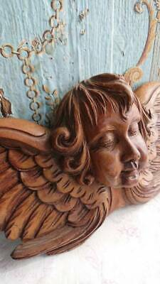 DIVINE ANTIQUE FRENCH WOOD CARVED WOOD WINGED CHERUB ANGEL PLAQUE 19thC
