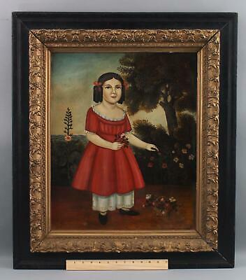 Folk Art Portrait Oil Painting on Tin, Young Girl w/ Red Dress & Flowers, NR