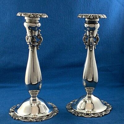 Wallace Silversmiths Baroque Pair of Silver Plated Candle Sticks - Excellent
