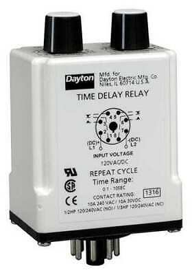 DAYTON 31EE10 TIME Delay Relay,120VAC/DC,10A,SPDT - $157.78 ... on