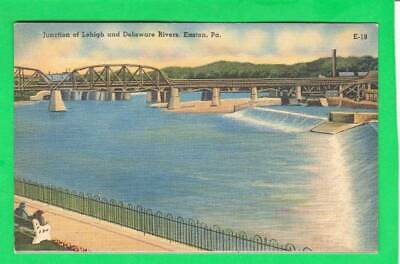 Postcard ~ Junction of Lehigh and Delaware rivers Easton, PA ~ Vintage 7430