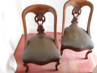 Pair Of Antique Victorian  Sculptured Walnut Dining Chairs,Lovely Condition