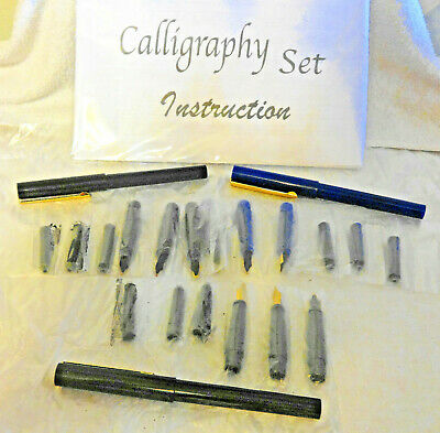 Lot of 3 Fountain Pens 3 replacement nibs & 3 ink cartridges each Calligraphy