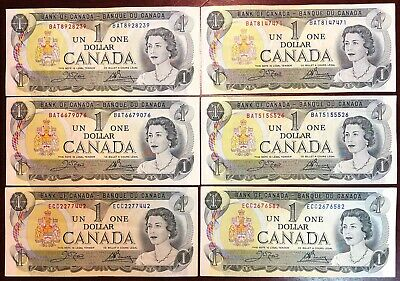 Lot of 6x Bank of Canada 1973 $1 One Dollar Bills - Lightly Circulated