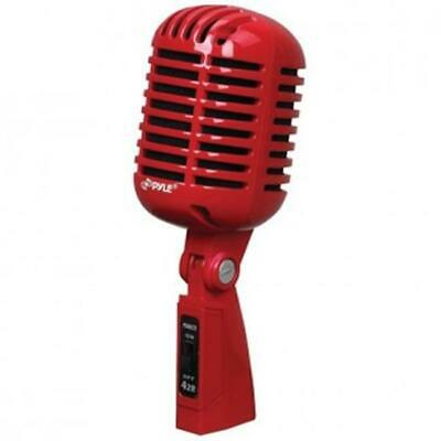 Pyle PYLPDMICR42R Classic Retro-Style Dynamic Vocal Microphone - Red