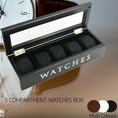 5 Grids Slots Wooden Watch Display Box Storage Case Gift Jewelry Organizer