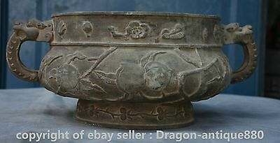 """14.8"""" Qianlong Marked Old Chinese Bronze Dragon Handle Peach Incense Burner"""