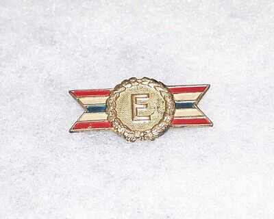 """Original Small Sterling Silver Ww2 Army Navy Production """"E"""" Award Badge"""