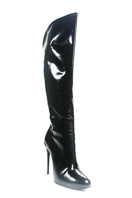 684e18ad7 Gucci Womens Patent Leather Stiletto Heel Over The Knee Boots Black Size  38.5 8.
