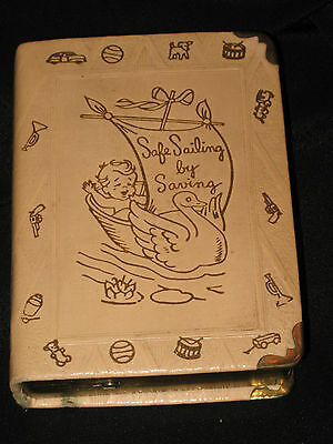 """Vintage Leather & Brass Baby Book Bank The Zell Co. N.Y. """"Safe Sailing by Saving"""