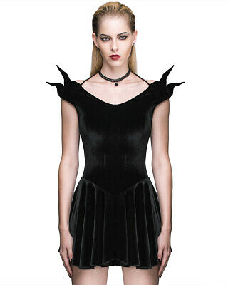 Devil Fashion Donna Mini Abito Punk Gotico Velluto Nero