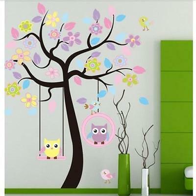Art Home Removable Owl Mural Wall Stickers Kid Baby Nursery Fr Tree Decals Decor