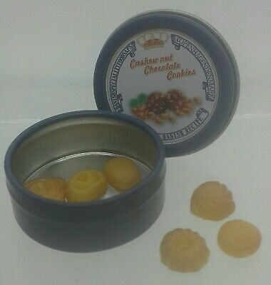 1:12th Miniature Doll House Accessories Mini Tin of Cashew & Chocolate Cookies