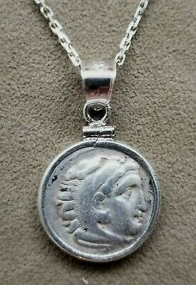 Genuine Ancient Greek Drachm Coin of Alexander III The Great 925 Silver Necklace