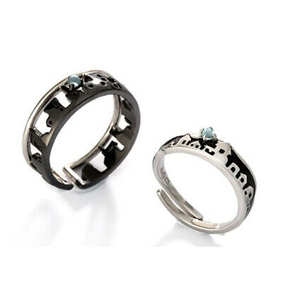 Silver Antique Two City Lovers Long-distance Open Band Ring For Couple Jewelry